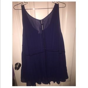 Tops - Torrid navy lace-up chiffon tank top size 4.